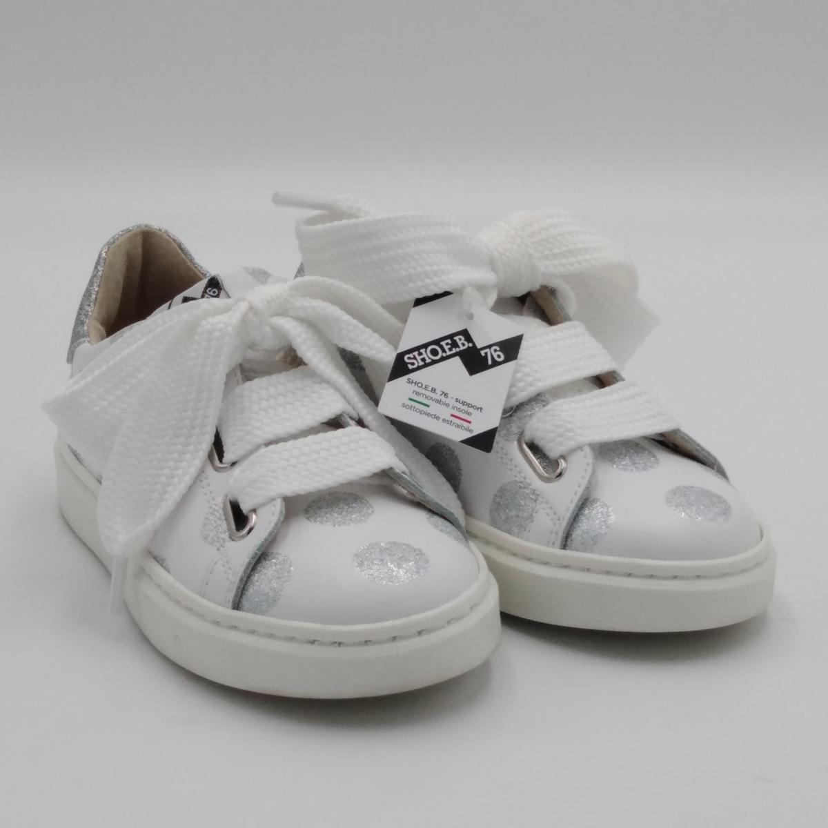 Sneaker lacci bianco pois...