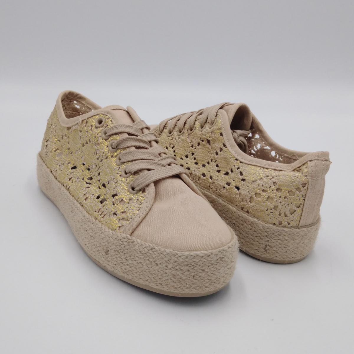 Sneaker pizzo oro tela...