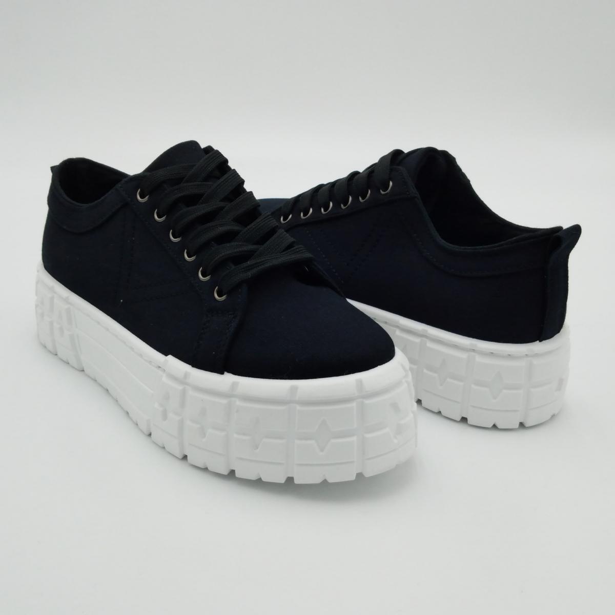 Sneaker platform tela nera...