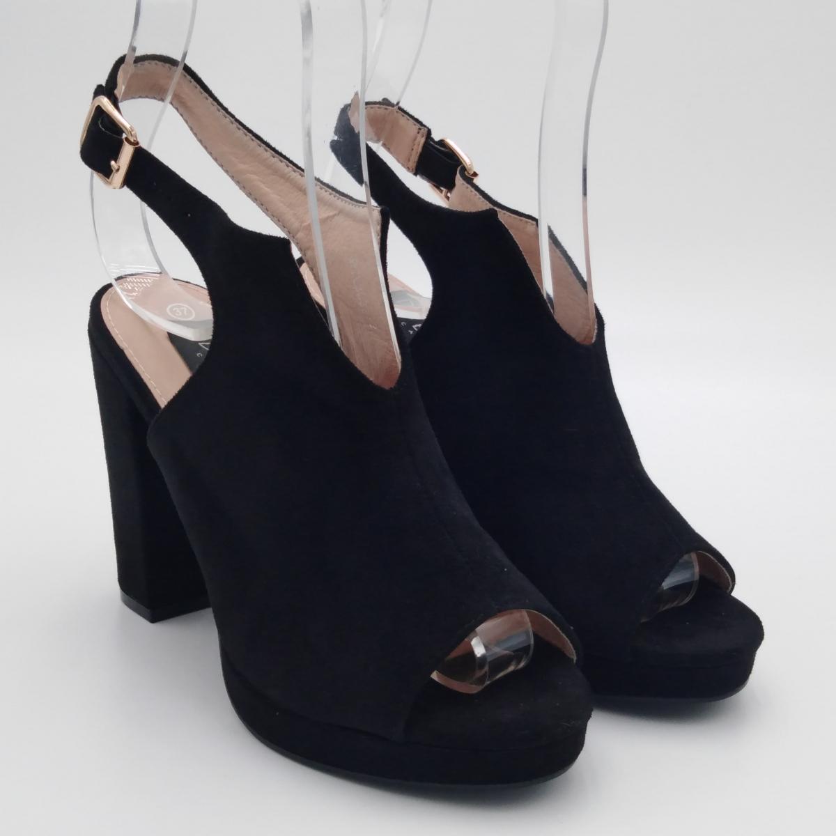 Sandalo camoscio nero tacco...