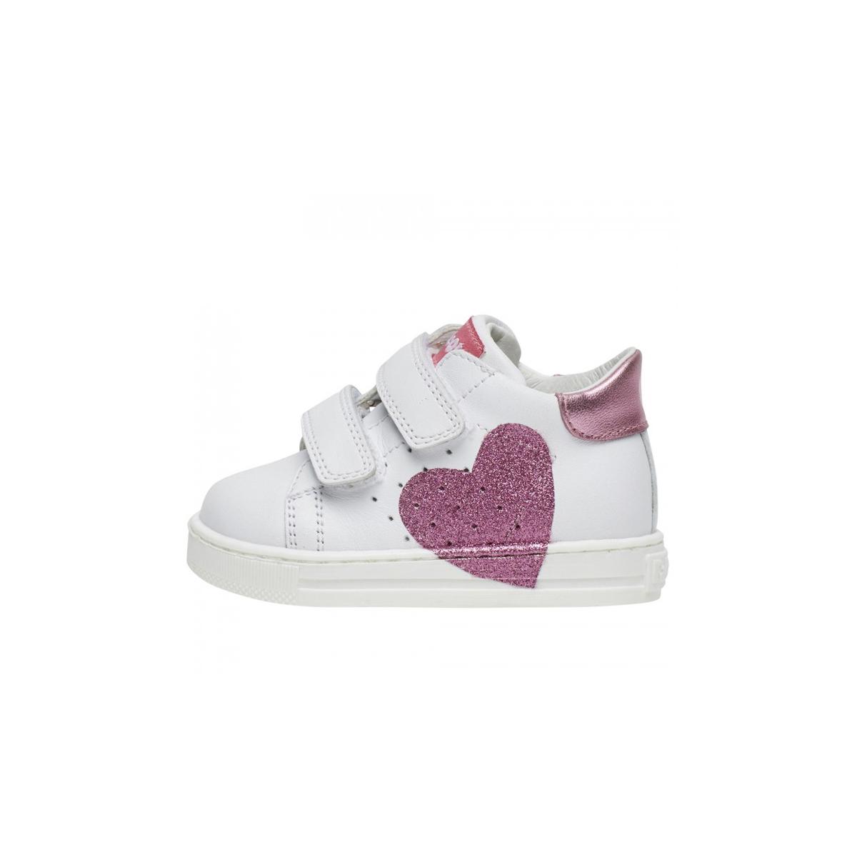 on sale 767e8 b3582 Sneaker falcotto bianca cuore glitter strappi fodera pelle ...