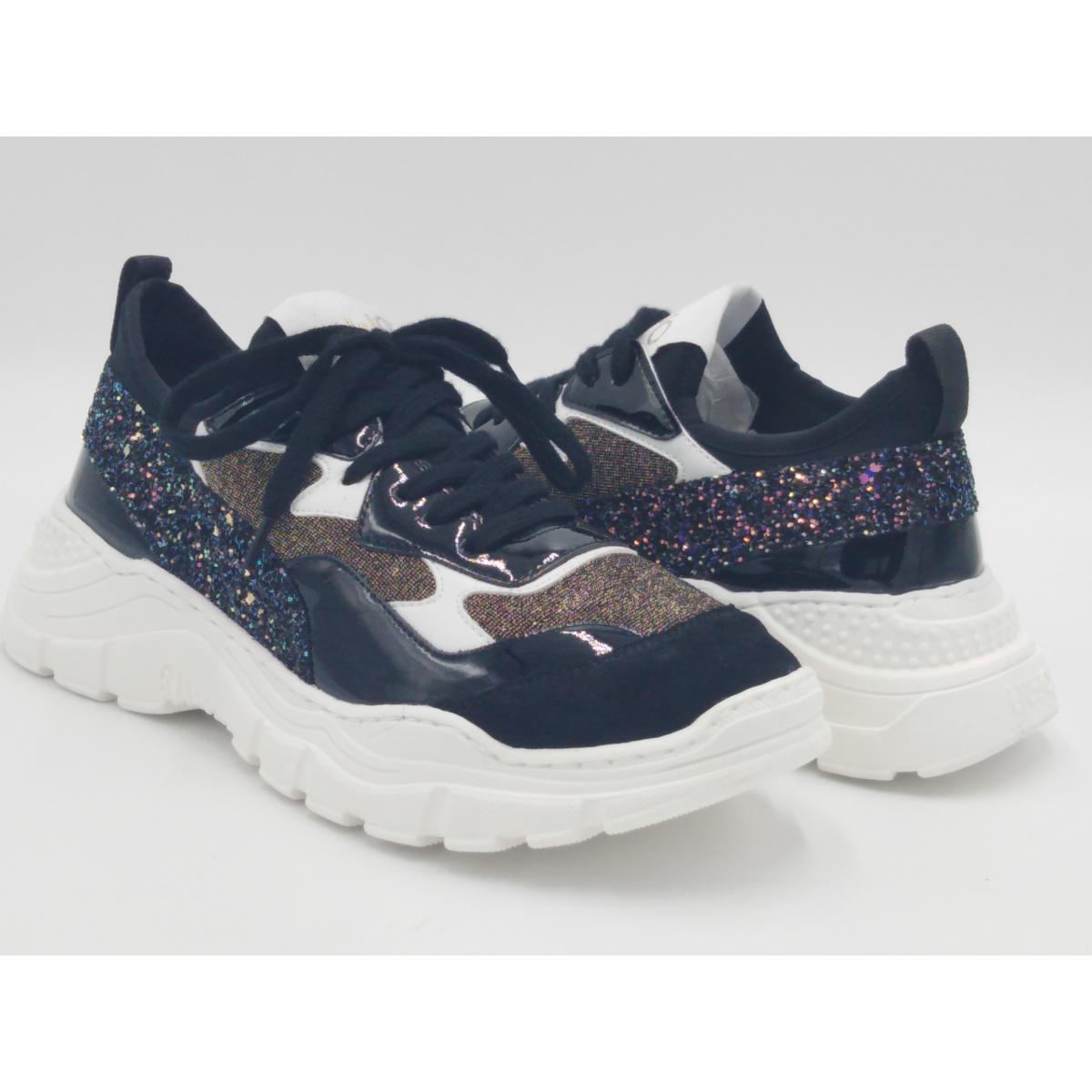 Sneaker slip on vernice nera glitter lurex plantare anatomico in pelle